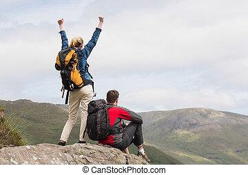 sommet, atteindre, couple, excité