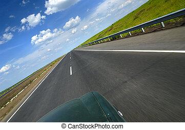 sommet, autoroute, voiture, lisser, vue