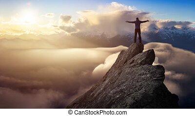 sommet, aventureux, animation, cinemagraph, falaise, homme, boucle, continu, montagne
