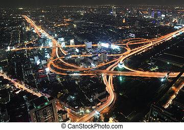 sommet, bangkok, vue, thaïlande, autoroute, autoroute