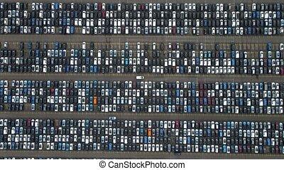 sommet, bas, au-dessus, distribution, prêt, expédition, voitures, garé, bourdon, élevé, survol, perspective, vue, présentation