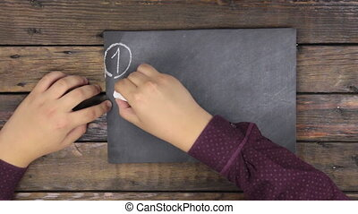 sommet, blackboard., écriture, nombres, vue., homme