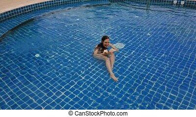 sommet bleu, natation, jeune, vidéo, ouvert, activities., ...