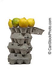 sommet, boîtes carton, tour, citrons, oeufs