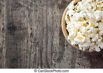 sommet bois, bol, pop-corn, table., vue
