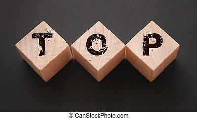 sommet, bois, letters., concept, gagnant, mot, cubes, direction