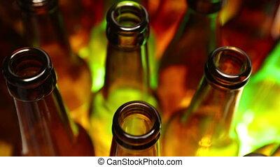 sommet, bouteilles, clair, vert, cous, rouges, vue