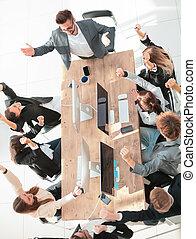 sommet, business, travail, applaudir, réunion, vue., équipe