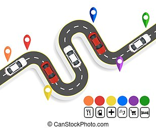 sommet, cars., illustration, navigator., enroulement, infographics., markings., marques, shadow., route, vue