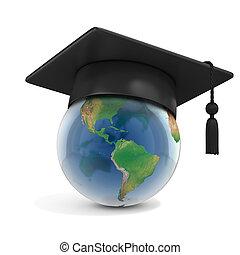 sommet, casquette, globe, remise de diplomes