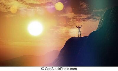 sommet, ciel, contre, coucher soleil, femme, 3d, falaise
