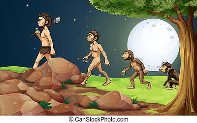sommet colline, évolution, homme