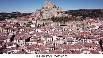 sommet colline, aérien, rocheux, pittoresque, château, espagne, vue, moyen-âge, morella, muré, castellon, ville