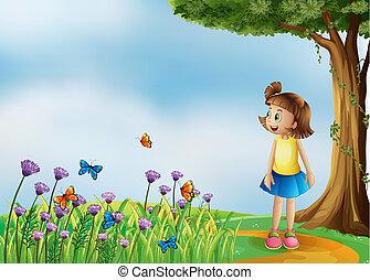 sommet colline, girl, jardin, heureux