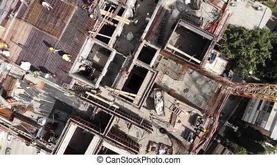 sommet, construction, coup, site, ouvriers, vue