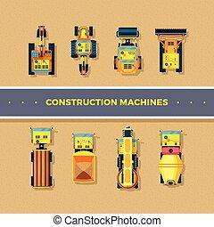 sommet, construction, machines, vue