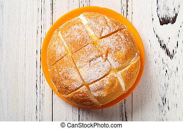 sommet crème, bois, table, vue, intérieur, pain