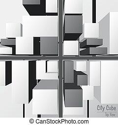 sommet, cube, vue ville