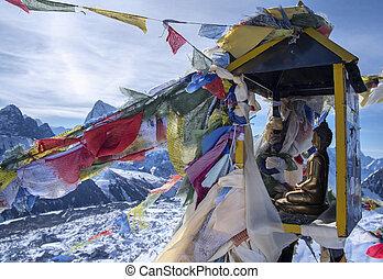 sommet, de, montagne, gokyo, ri., himalaya, népal