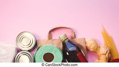 sommet, ensemble, espace, copie, arrière-plan rose, ...