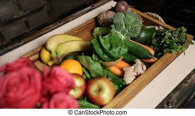 sommet, fruits, légume, frais, plateau, vue