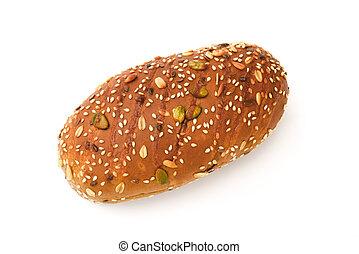 sommet, graine sésame, fond, melon, pain blanc, vue
