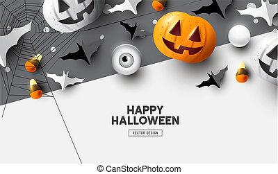 sommet, heureux, halloween, fond, vue