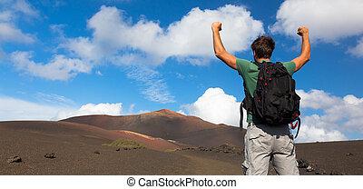 sommet, homme, mountain., atteindre