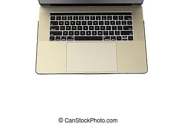 sommet, isolé, arrière-plan., clavier, blanc, ordinateur portable, vue