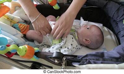 sommet, jetable, couche, mère, bébé, changement, vue