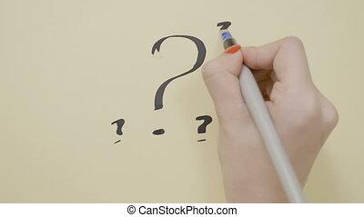 sommet, mains, question, papier, noir, abondance, marques, ...