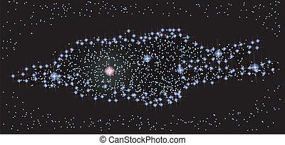 sommet, manière, galaxie, laiteux