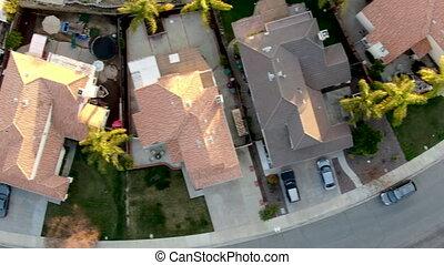 sommet, menifee, pendant, résidentiel, vila, voisinage, vue aérienne, subdivision, sunset.