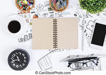 sommet, moderne, blanc, objets, bureau
