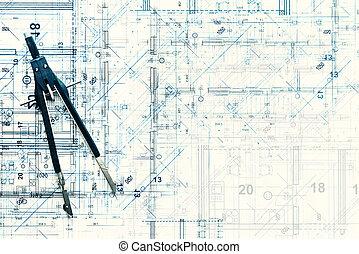 sommet, moderne, conception projet, architectural, nouveau, home., vue