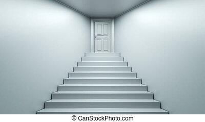 sommet, montée, escaliers.