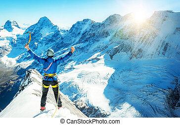 sommet montagne, alpiniste, portées, neigeux