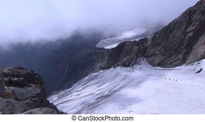 sommet montagne, ascensions, groupe, grimpeurs