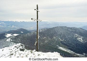 sommet montagne, croix