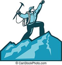 sommet montagne, grimpeur, retro