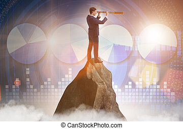 sommet montagne, homme affaires