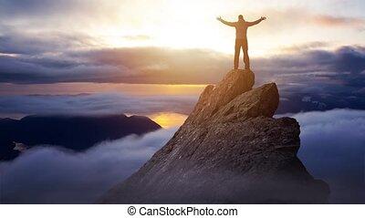 sommet montagne, homme, continu, cinemagraph, aventureux, animation, falaise, boucle