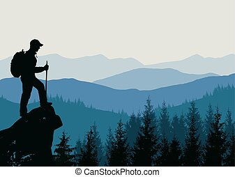 sommet montagne, homme
