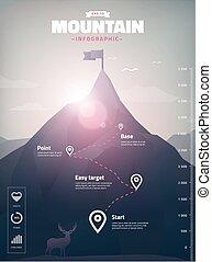 sommet montagne, infographic, polygone, illustration