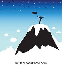 sommet montagne, silhouette, homme