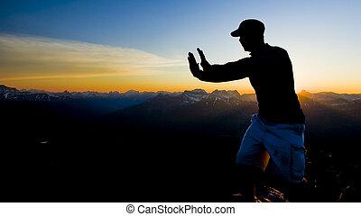 sommet montagne, silhouette, personne