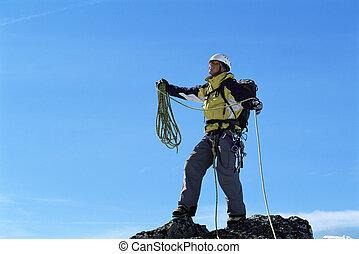 sommet montagne, sommet, alpiniste