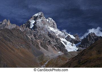 sommet, montagne, ushba