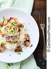 sommet, mushrooms., risotto, vue