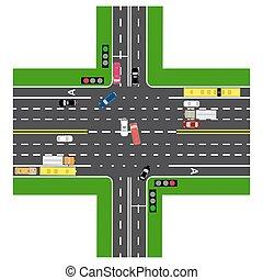 sommet, non-principal, trafic, intersection, roads., infographics., voitures, vert, highway., signal route, la plupart, transport., chargé, road., vue, autoroute, cartes, lights., public